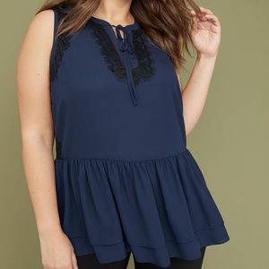 Lane Bryant Navy Black Lace Peplum 16 Tank Top